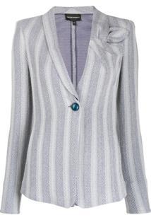 Emporio Armani Blazer Com Listras E Abotoamento Simples - Azul