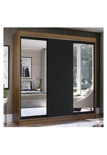 Guarda-Roupa Casal Madesa Istambul 3 Portas De Correr Com Espelhos 3 Gavetas Rustic/Preto Preto