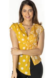 Blusa Poã¡S Com Recorte - Amarela & Brancadwz