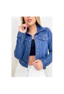 Jaqueta Jeans Destmoda Botão Encapado Azul