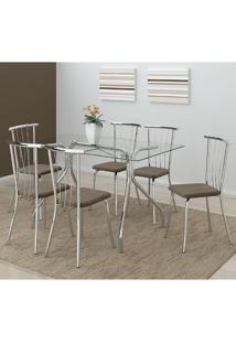 Mesa 387 Com Vidro Incolor Cromada Com 6 Cadeiras 154 Camurça Conhaque Carraro