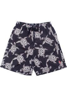 Shorts Midnight Turtle Aleatory Masculino - Masculino-Marinho