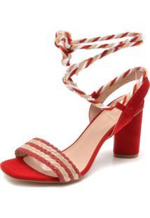 Sandália Di Cristalli Tressê Vermelha