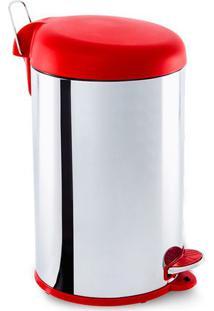 Lixeira Com Pedal- Inox & Vermelho Escuro- 40X32X25Cbrinox
