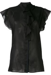 Victoria Victoria Beckham Blusa Translúcida Com Babados - Preto