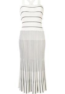 Alexis Vestido De Tricô Com Padronagem De Listras - Branco