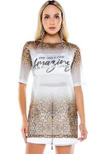 Blusa Caos Tule Onça Feminina - Feminino-Branco