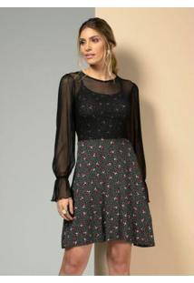 Vestido Floral Poá Preto Com Sobreposição