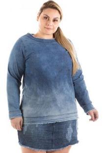 Blusa Jeans Confidencial Manga Longa Plus Size Feminina - Feminino-Azul