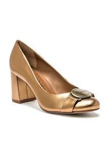 Scarpin Salto Medio Com Metal Personalizado Dourado