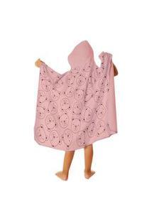 Toalha De Banho Bebê Com Capuz Estampada Ursinha Rosa