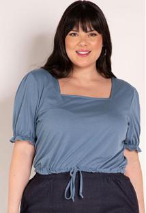 Blusa Azul Com Decote Quadrado Plus Size