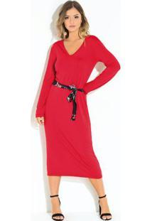 Vestido Com Faixa Quintess Vermelho