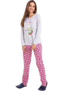 Pijama Longo De Inverno Lhama E Cactus Feminino Luna Cuore