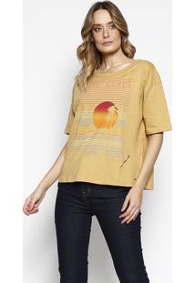 """Blusa """"The Sun"""" Com Recortes - Amarelo Escuro & Vermelhasommer"""