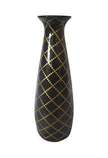 Vaso Decorativo Cerâmica Tulip Dark Dot Net Gold Fundo Urban Preto - 35X11,5X11,5Cm