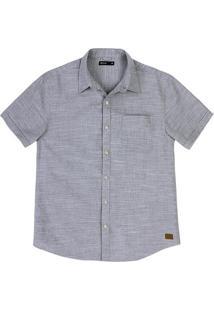 Camisa Masculina Manga Curta Em Tecido De Algodão Com Fio Tinto