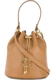Furla Pebbled Drawstring Bucket Bag - Neutro