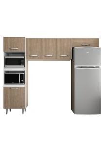 Cozinha Modulada 3 Módulos Composiçáo 7 Branco/Castanho - Lumil