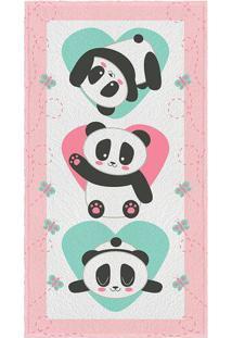 Toalha De Banho Felpuda Pandas- Rosa Claro & Branca-Lepper