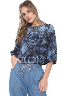 Blusa Cantão Estampada Azul-Marinho