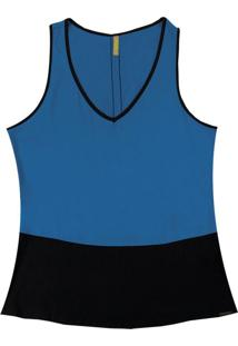 Blusa Com Decote V Em Tecido Azul