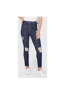 Calça Jeans Lança Perfume Skinny Destroyed Azul