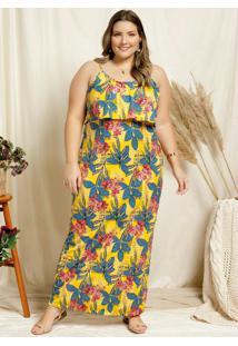 Vestido Longo Floral Amarelo E Babado Plus Size