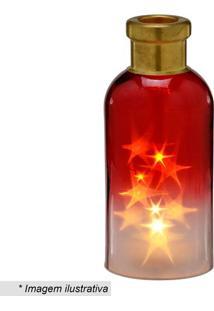 Garrafa Decorativa Com Luz- Incolor & Vermelha- 24,5Mabruk