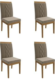 Conjunto Com 4 Cadeiras De Jantar Alice Suede Madeira E Joli