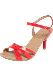 Sandália Usaflex Strass Vermelho
