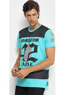 Camiseta Fatal Alongada Estampada Masculina - Masculino-Azul Turquesa