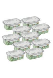 Conjunto Pote Alimentos Plástico Alto Com Travas 460Ml 10Un