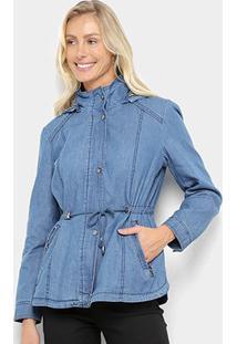 Jaqueta Jeans Facinelli Cordão Cintura Capuz Feminina - Feminino-Azul Claro