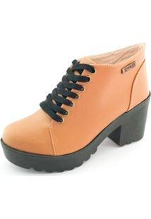 Bota Quality Shoes Tratorada Feminina - Feminino-Marrom Claro