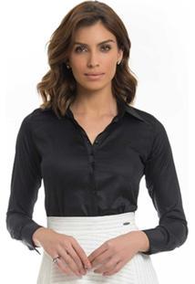 d296f6545 10 Ir para a loja; Camisa Social Feminina Preta Principessa Mardjane