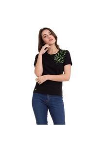 Camiseta Hifen Feminina Com Bordado Preta