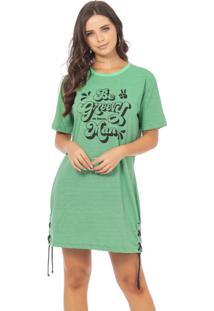 Vestido Estampado E Detalhes Em Ilhós Verde