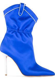Malone Souliers By Roy Luwolt Ankle Boot De Cetim - Azul