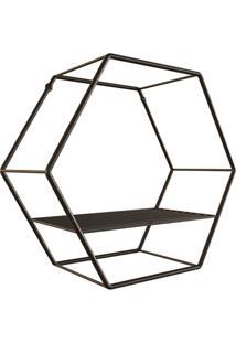 Nicho Hexagonal Em Aço 30Cm Preto