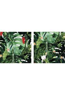 Quadro Decorativo Duplo De Acrílico De Parede Paisagem Flores E Folhas 40X40 - Art Frame