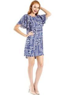 Vestido Estampado Viscose Cantão - Feminino-Azul