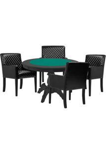 Mesa De Jogos Carteado Redonda Montreal Tampo Reversível Preto Com 4 Cadeiras Liverpool Corino Preto Matelassê - Gran Belo