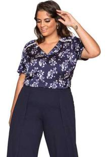 Blusa Almaria Plus Size Pianeta Estampada Azul Marinho Azul