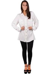 Camisa Banna Hanna Alongada - Feminino-Branco
