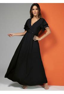 Vestido Longo Preto Com Cinto