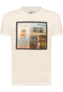 Camiseta Aleatory Estampada Beach Masculina - Masculino-Bege