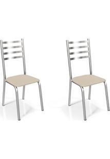 Conjunto Com 2 Cadeiras De Cozinha Alemanha Cromado E Nude