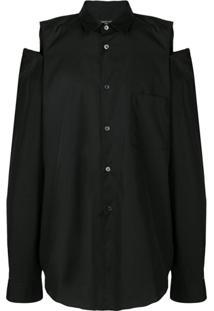 Comme Des Garçons Homme Plus Camisa Com Vazado - Preto