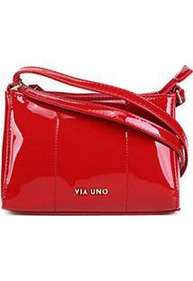 Bolsa Via Uno Mini Bag Eco Verniz Feminina - Feminino-Vermelho Escuro